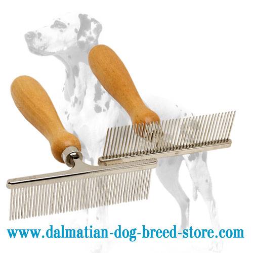 Dalmatian grooming metal comb with chrome plating