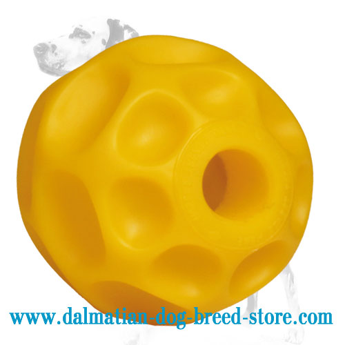 Dog chew ball with compartment for treats