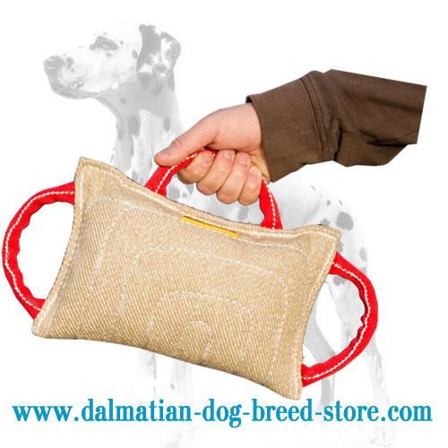Dog training bite pad with 3 soft handles