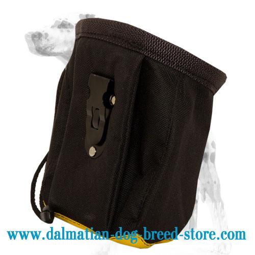 Back side of dog treat bag: special belt clip