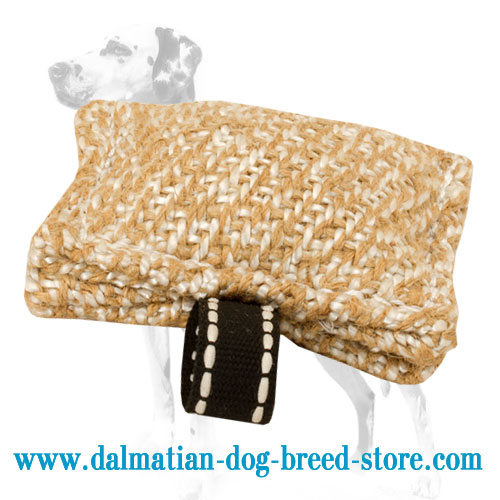 Bite tug for training Dalmatians, jute material