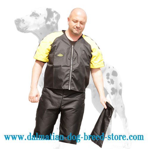 Scratch protective jacket for training Dalmatians