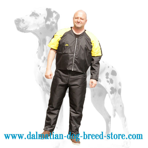 Dog training scratch suit with zippers