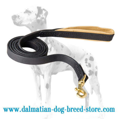 Dog leather leash for Dalmatians, 7 ft long