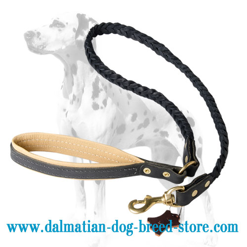 Leather dog braided lead