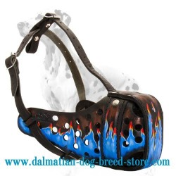 Gorgeously hand-painted leather dog muzzle for Dalmatian