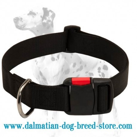 Affordable high quality nylon dog collar with quick release buckle for Dalmatian breed