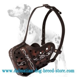 Trendy Leather Dalmatian Dog Muzzle with  Painting