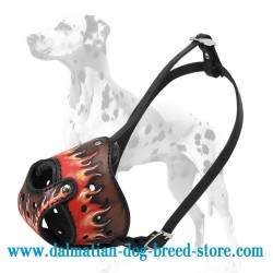 Dalmatian Leather Hand-painted in Flames Dog Muzzle
