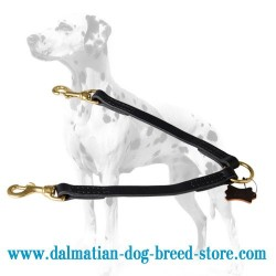 '2 Pets Walking' Dalmatian Dog Leather Coupler