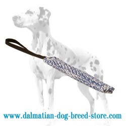 Dalmatian Puppy Training French Linen Dog Bite Tug with Handle
