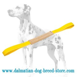 Narrow Leather Dalmatian Dog Bite Tug with 2 Handles